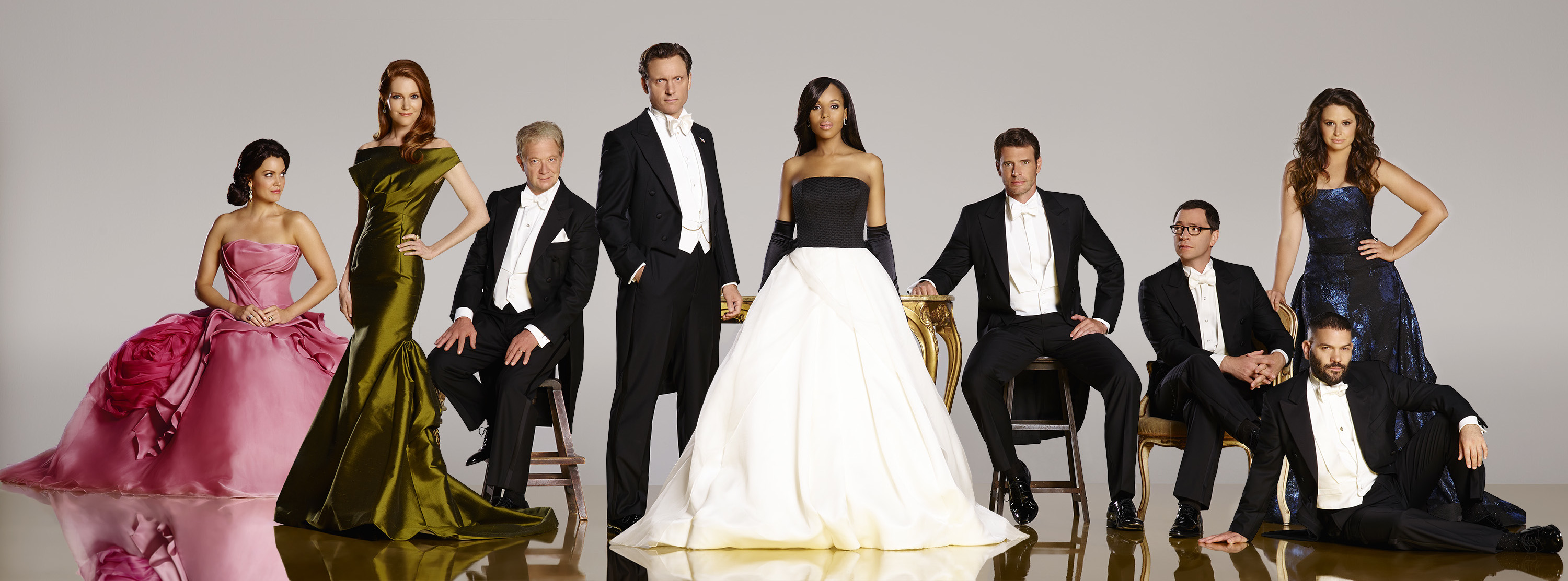 "SCANDAL - ABC's ""Scandal"" stars Bellamy Young as First Lady Mellie Grant, Darby Stanchfield as Abby Whelan, Jeff Perry as Cyrus, Tony Goldwyn as President Fitzgerald Grant, Kerry Washington as Olivia Pope, Scott Foley as Jake Ballard, Joshua Malina as David Rosen, Guillermo Diaz as Huck and Katie Lowes as Quinn Perkins. (ABC/Craig Sjodin)"