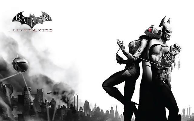 Batman: Arkham City - Image noire et blanc de Batman dos à dos avec Catwoman