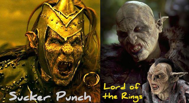 Montage comparatif entre les monstres de Sucker-Punch et les Uruk-hai du Seingeur des Anneaux