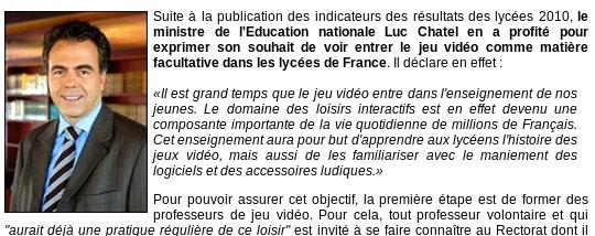 Screenshot de l'article - Chatel annonce une nouvelle matière au bac