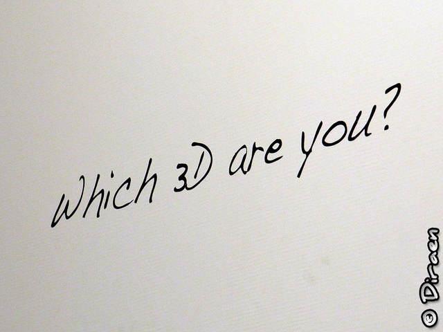 """Photo du slogan """"Which 3D are you"""" dessiné sur un mur"""