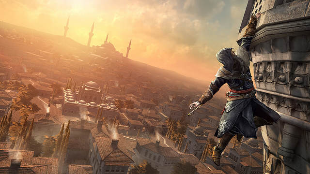 Screenshot : Ezio suspendu à un dome de Constantinople