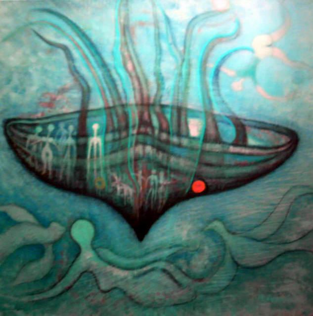 le bateau ivre toile de Laszlo Mindszenti