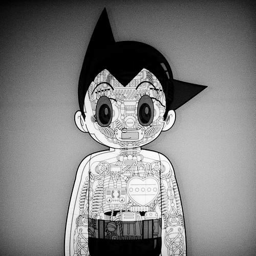 Image noir et blanc d'Astro passé aux Rayons X qui dévoilent ses circuits internes
