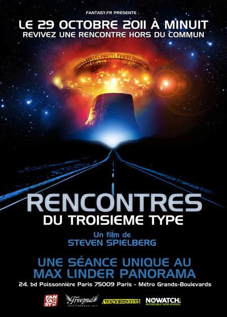 """Affiche de la projection """"Rencontres du Troisième Type au Max Linder - Paris"""""""