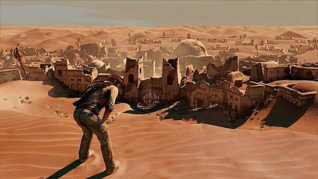 Screenshot - Drake fatigué devant les ruines d'une ancienne cité