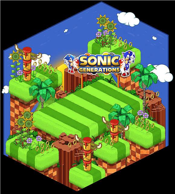 Screenshot de la salle virtuelle Sonic d'Habbo
