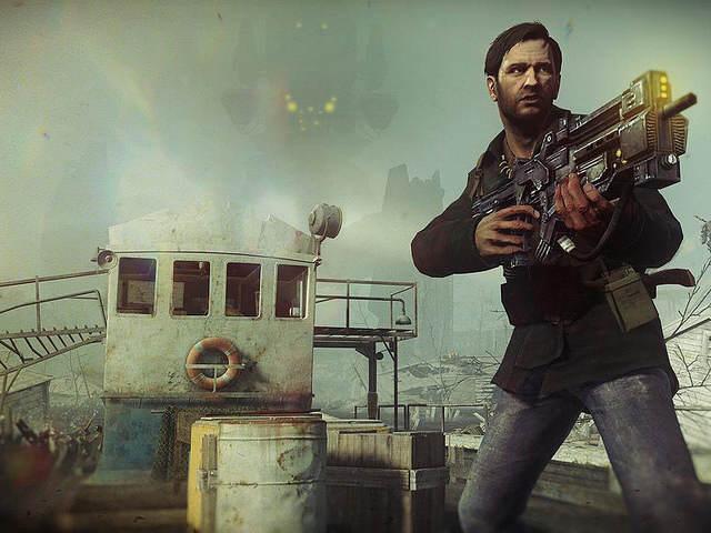 Concept Art - Jo, tenant son arme pointée devant lui, sur le pont d'un bateau, une mêche dans le vent, la bouche légèrement entrouverte