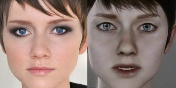 Comparatif entre une photo de l'actrice Valorie Curry et un screenshot de son double virtuel, Kara