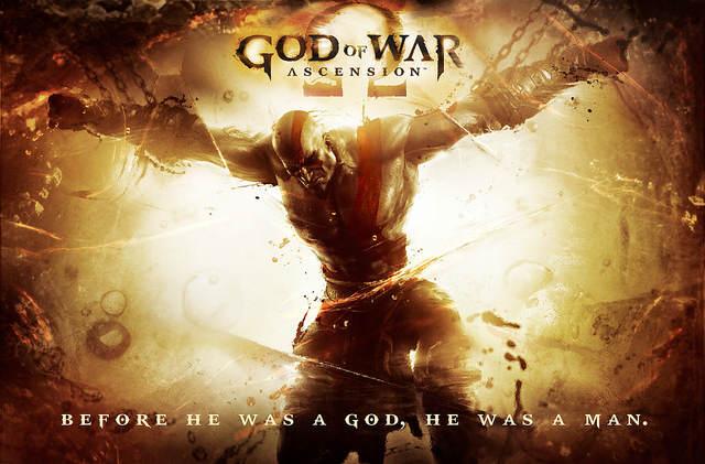 Recherche graphique dans les tons sépia où l'on voit Kratos, écartélé par des chaines, baisser la tête
