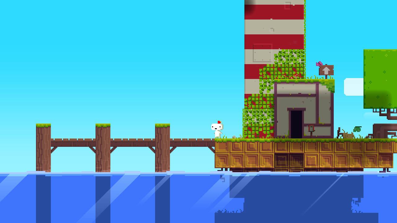 Screenshot d'un début de level, avec un ponton et de l'eau.