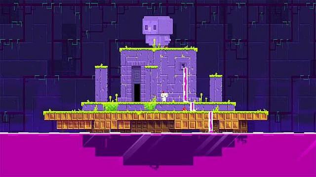 Screenshot d'un édifice violet flottant sur une eau pourpre.