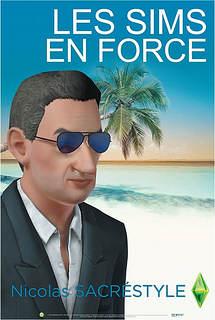 Copie à peine parodique de l'affiche de campagne réelle de Nicolas Sarkozy, les lunettes de soleil, la plage et les palmiers en plus...
