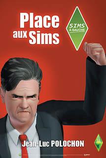 Parodique de l'affiche de campagne réelle de Jean-Luc Mélanchon, soit le fond est rouge mais ici le candidat lève le point, la bouche pincée, il semble être en colère presque près à taper du pied. Pas content quoi...