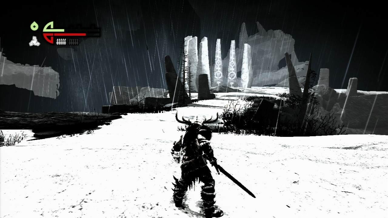 Un monde noir & blanc, aux inspirations vikings, s'étend devant le héros.