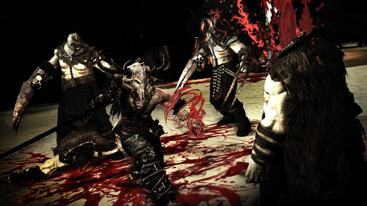 Le héros tue des ennemis de façon sanglante.