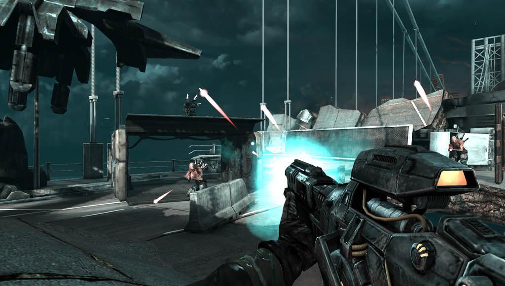 Le joueur affronte des ennemis sur un pont en ruines.