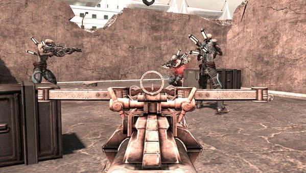 Le joueur manie ici un fusil à pompe, face à plusieurs ennemis.