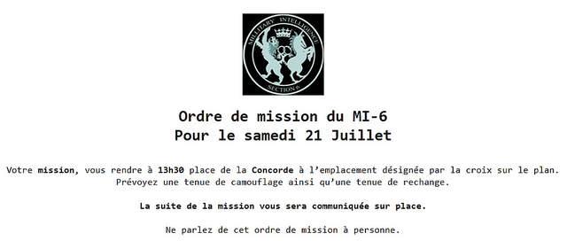 Ordre de mission avec entête de MI6