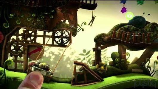 Un doigt tire une nacelle de jeu pour envoyer le personnage voler dans les airs.