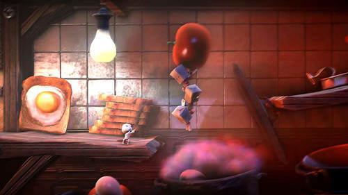 Un des niveaux du jeu, qui évoque une cuisine.