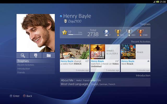 Interface de la PS4 - Ecran de la Gamer Card