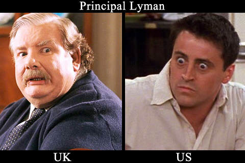 Comparatif visuel entre les photo du Professeur Lindman version UK (Richard Griffiths) et version US (Matt Leblanc)