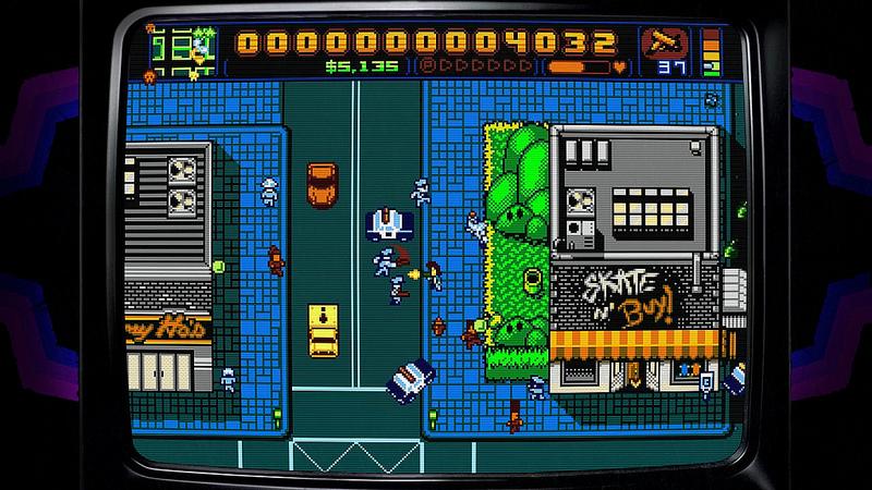 Retro City Rampage ou un open world avec des graphismes à l'ancienne.