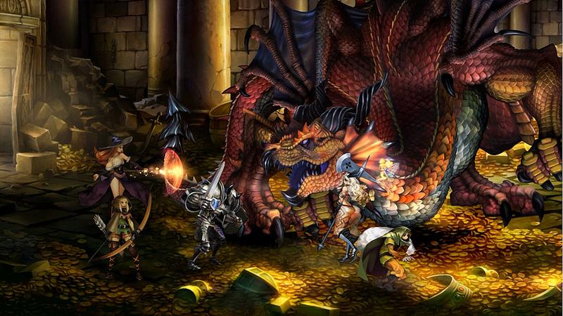 Un combat contre un dragon dans le superbe Dragon's Crown.