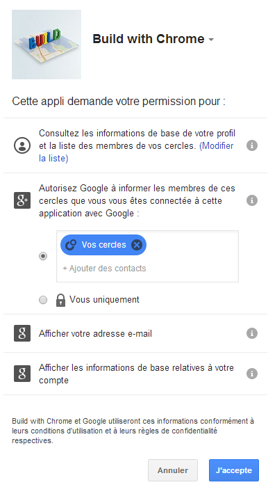 Capture d'écran de la liste des permissions requises