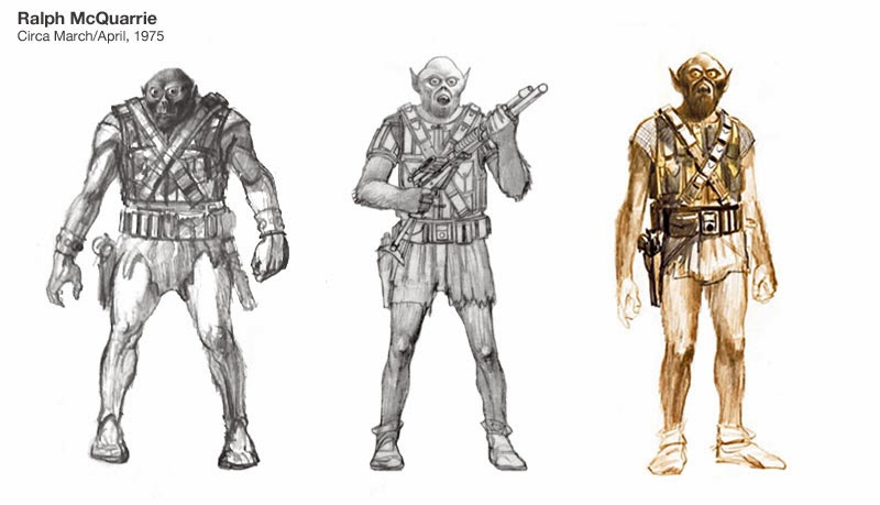 Ralph McQuarrie design sketches including the original C3PO and Chewbacca drawings