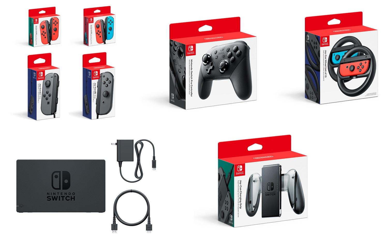 Quelques uns des accessoires de la Switch